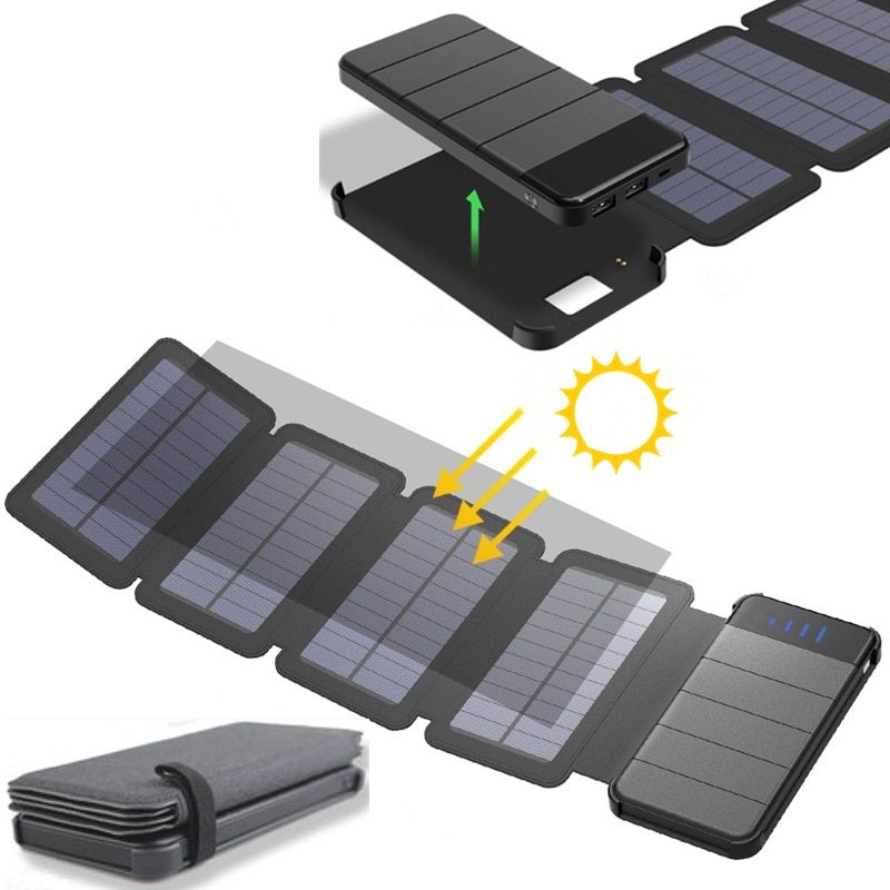 KERNUAP Solar panel 8W sunpower battery can remove power bank universal Portable Phone Charger Outdoor tourism External Battery