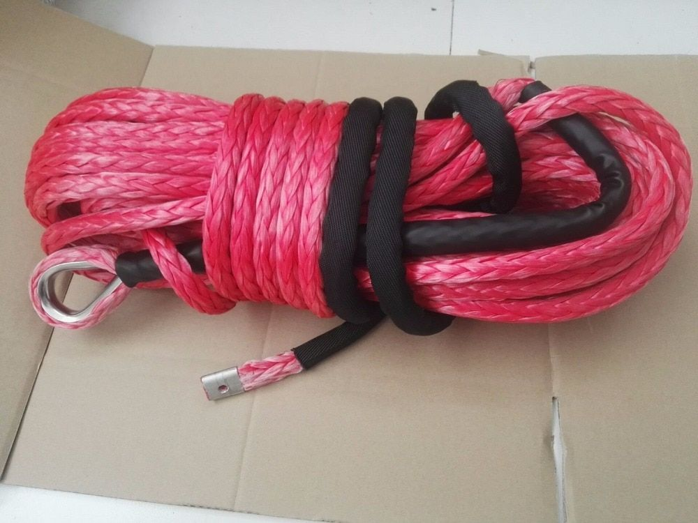 Red 16mm*28m Synthetic Winch Rope,Plasma Rope for Electric Winch, Replacement Winch Cable,Off Road Rope