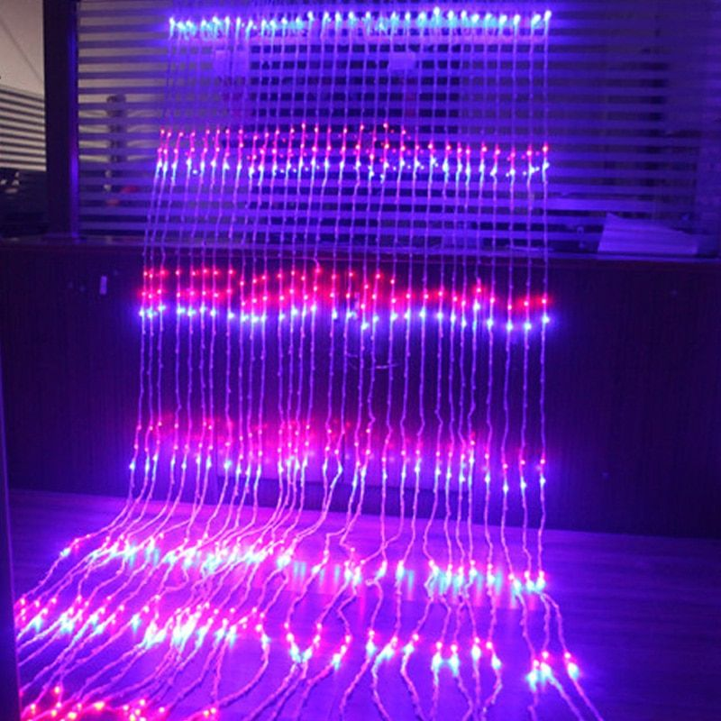 Fairy 3x3m 320 leds Waterfall LED Landscape String Light New Year Christmas Garland Wedding lamp luminaria chandelier decoration