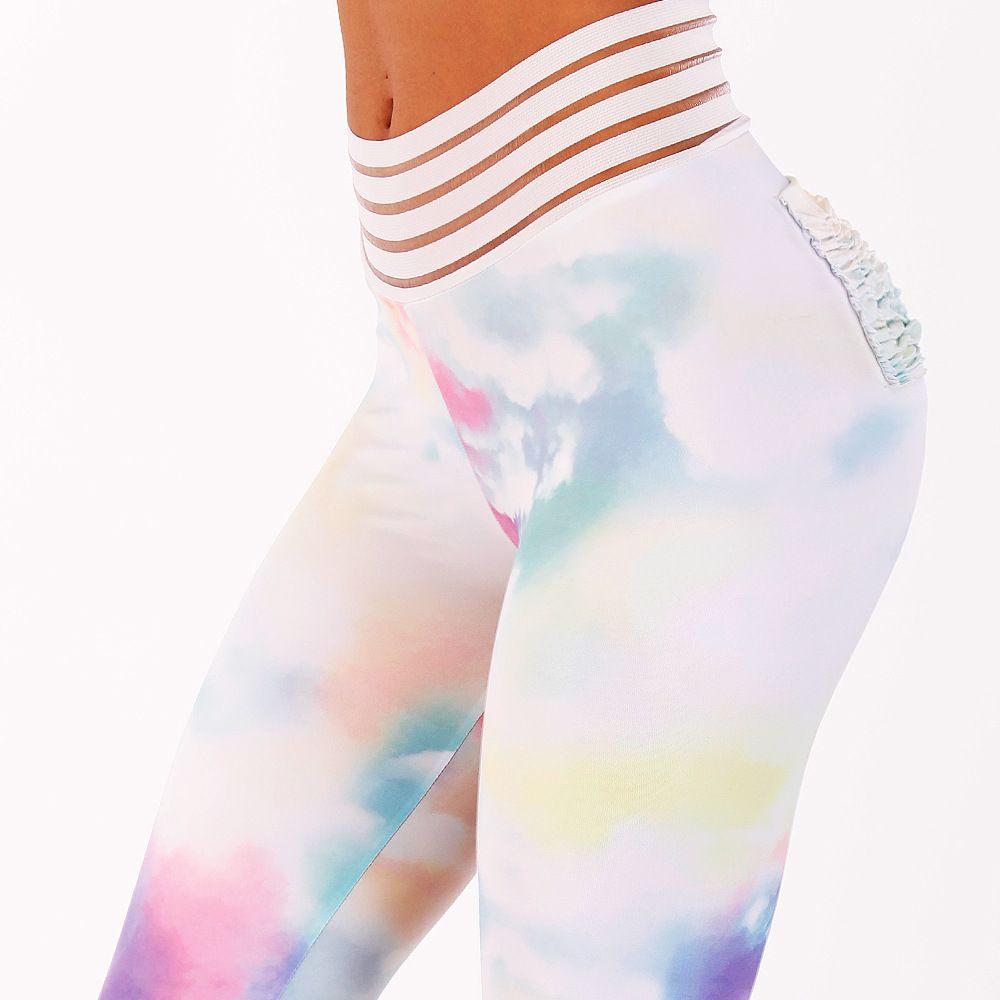 2018 New Sexy Lace Splicing Waist Leggings Women Colorful <font><b>Clouds</b></font> Print Pocket Workout Push Up Fitness Female Elastic Slim Pants