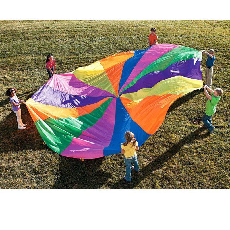 2m & 3m Rainbow Parachute Outdoor Toys Rainbow Outdoor 8 Handles Parachute Multicolor Nylon Kids Toy Parachute