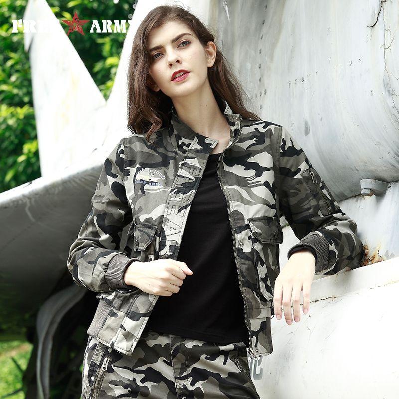 Herbst Mode 2017 frauen Bomber Jacke Winter Armee-grün Pocket Military Camo Jacke Drei Farben Weiblichen Jacken Plus Größe