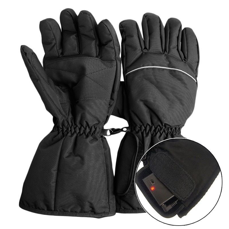 1 Pair Waterproof Heated Gloves Battery Powered For Motorcycle Hunting Winter Warmer (No Battery)