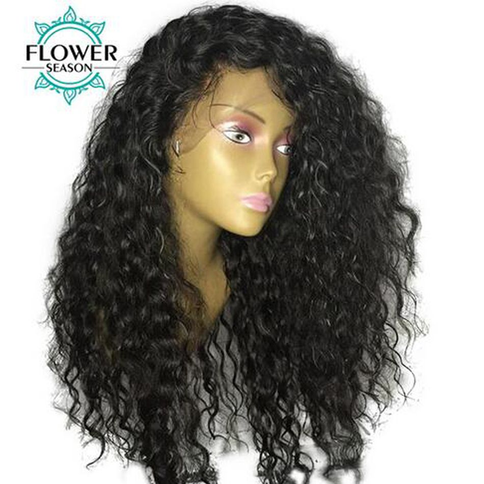 FlowerSeason Curly 13x6 Lace Front Human Hair Wigs Pre Plucked For Black Women With Baby Hair Deep Parting Brazilian Remy Hair