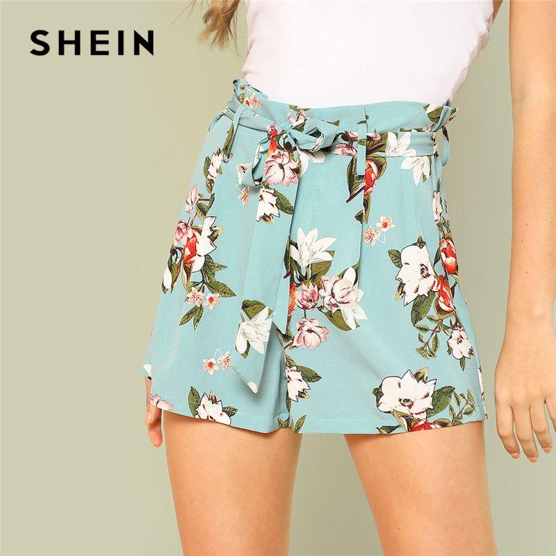 SHEIN Tie Waist <font><b>Wide</b></font> Leg Floral Shorts 2018 Summer Mid Waist Flower Print Belted Casual Bottom Woman Vacation Cool Shorts