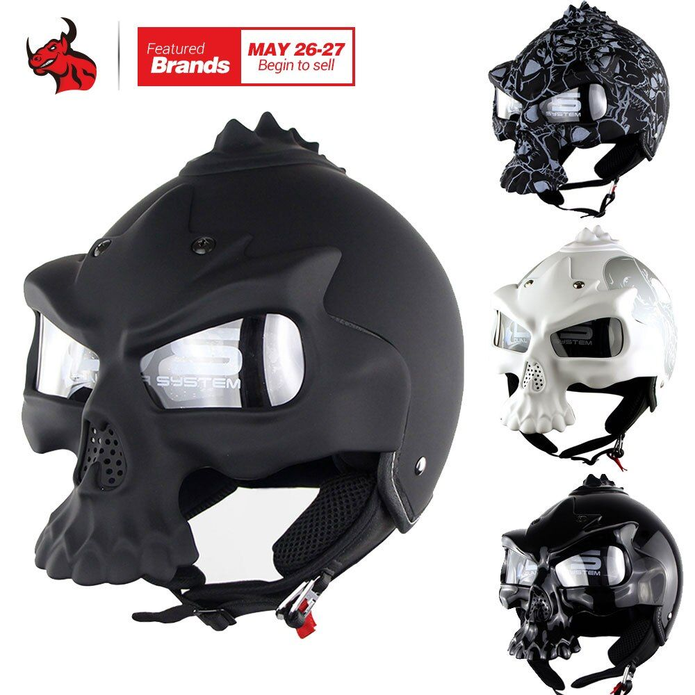 SOMAN Skull Motorcycle Helmet Novelty Retro Casque Double Lens Motorbike Half Face Helmet Personal Moto Helmet Black
