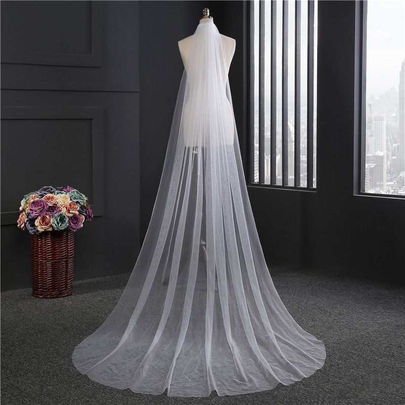 Cheap Wedding Wedding veil with Comb Lady Hot Sale Cathedral Bridal Veils Long Train and Combs For Bride 3m meters Long 2017