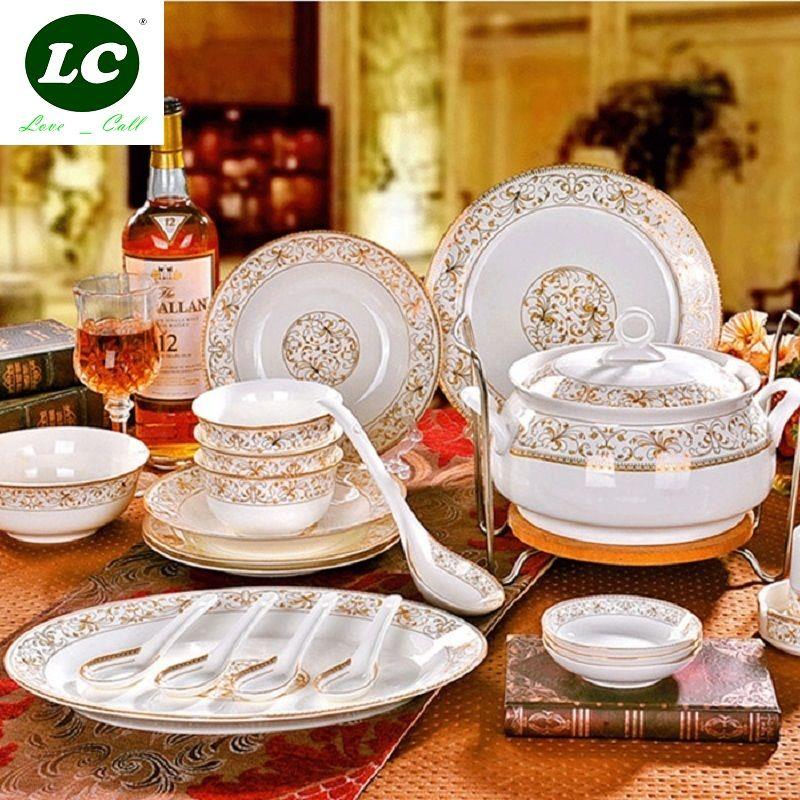 dish and plates ceram dinnerware set 46pcs combination bowls ceramic tableware bone china health