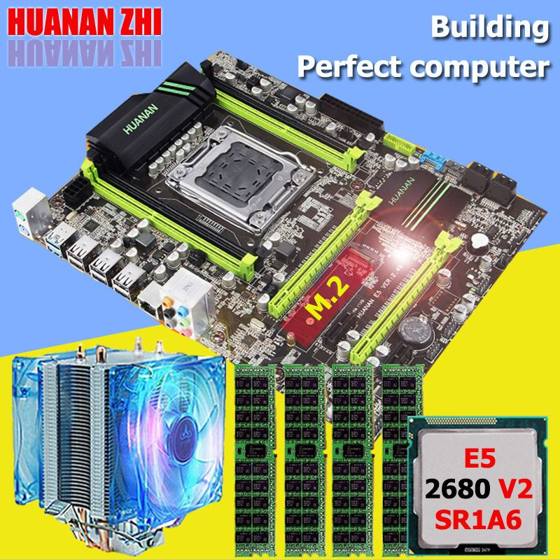 HUANAN ZHI X79 motherboard CPU RAM set with cooler Intel Xeon E5 2680 V2 SR1A6 RAM 32G(4*8G) DDR3 1600MHz RECC NVME SSD M.2 port