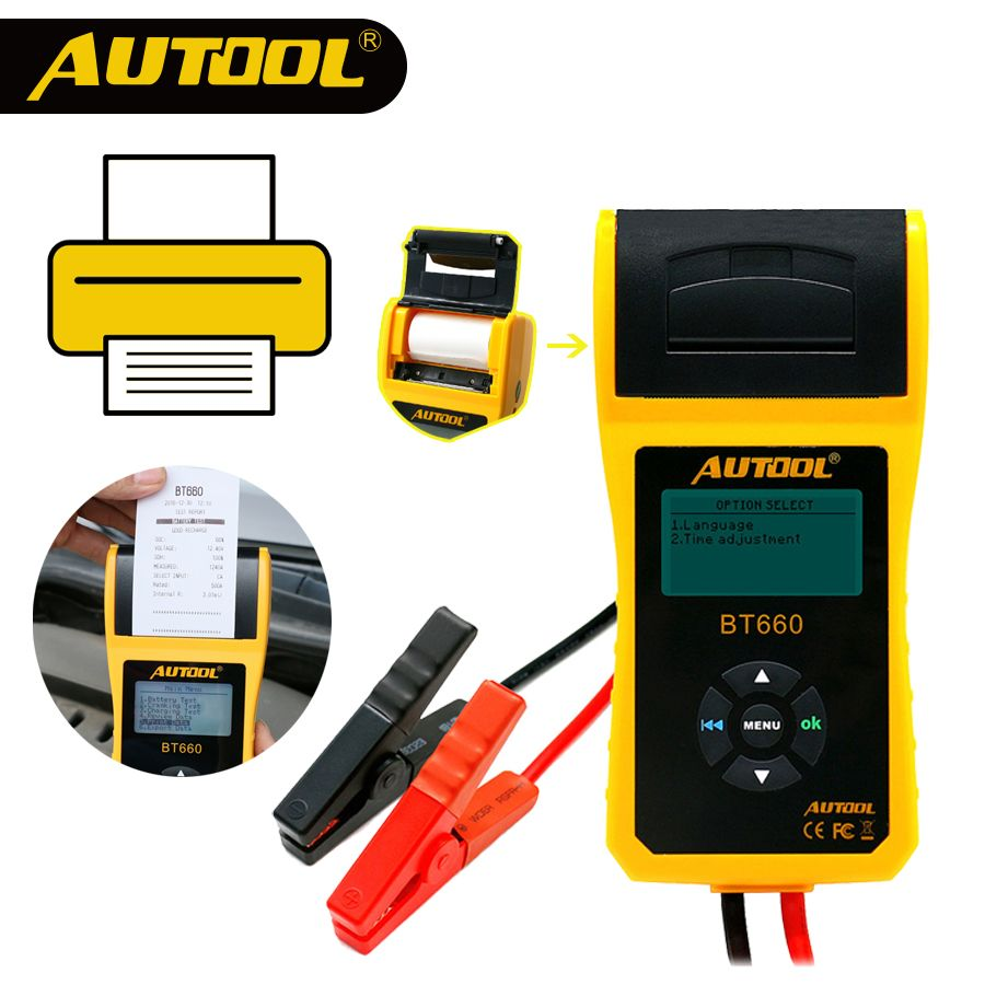 AUTOOL BT660 Car Battery Tester with Print 12V Built in Thermal Printer Multi Language Auto Diagnosis Tool For Repair Workshop