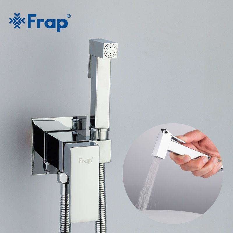 Frap Bidet Faucet Brass <font><b>Shower</b></font> Tap Washer Mixer Muslim Ducha Higienica Cold & Hot Water Mixer Crane Square <font><b>Shower</b></font> Spray F7506