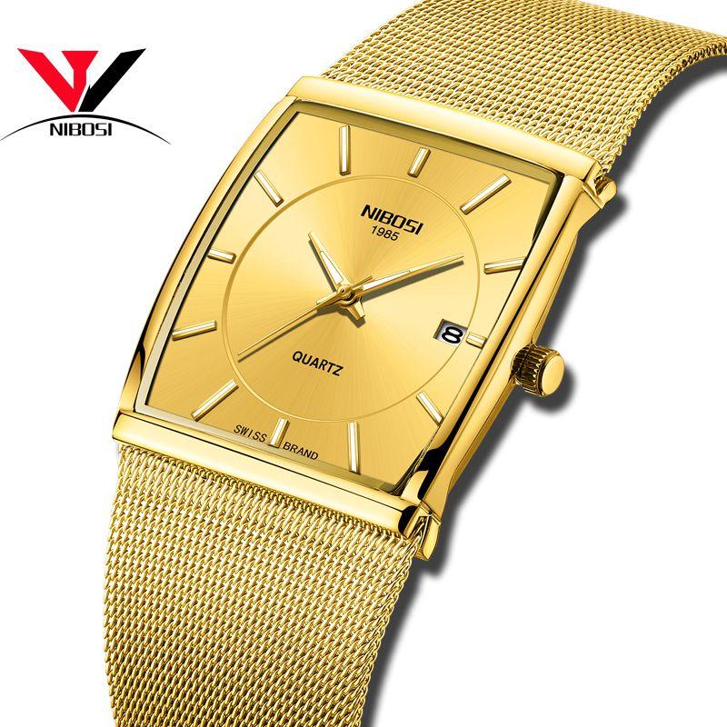 NIBOSI montre à Quartz doré hommes montres relogio masculino Top luxe Bracelet en or montres Bracelet en acier étanche horloge mâle
