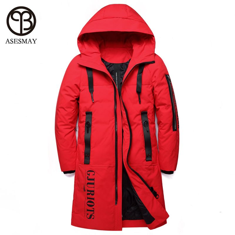 Asesmay 2018 brand men down jacket winter thick white duck down parkas warm winter mens coats hoodies lovers red casual jackets