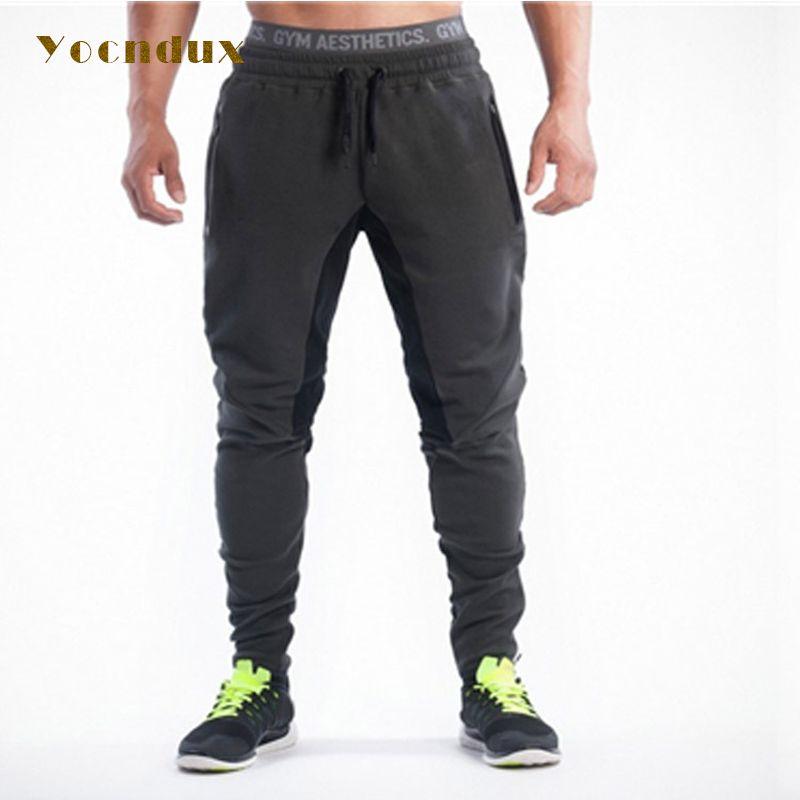 Yocndux 2017 Stitching Men Gyms Sports Pants Elastic cotton Mens Fitness Workout Pants skinny,Sweatpants Trousers Jogger Pants