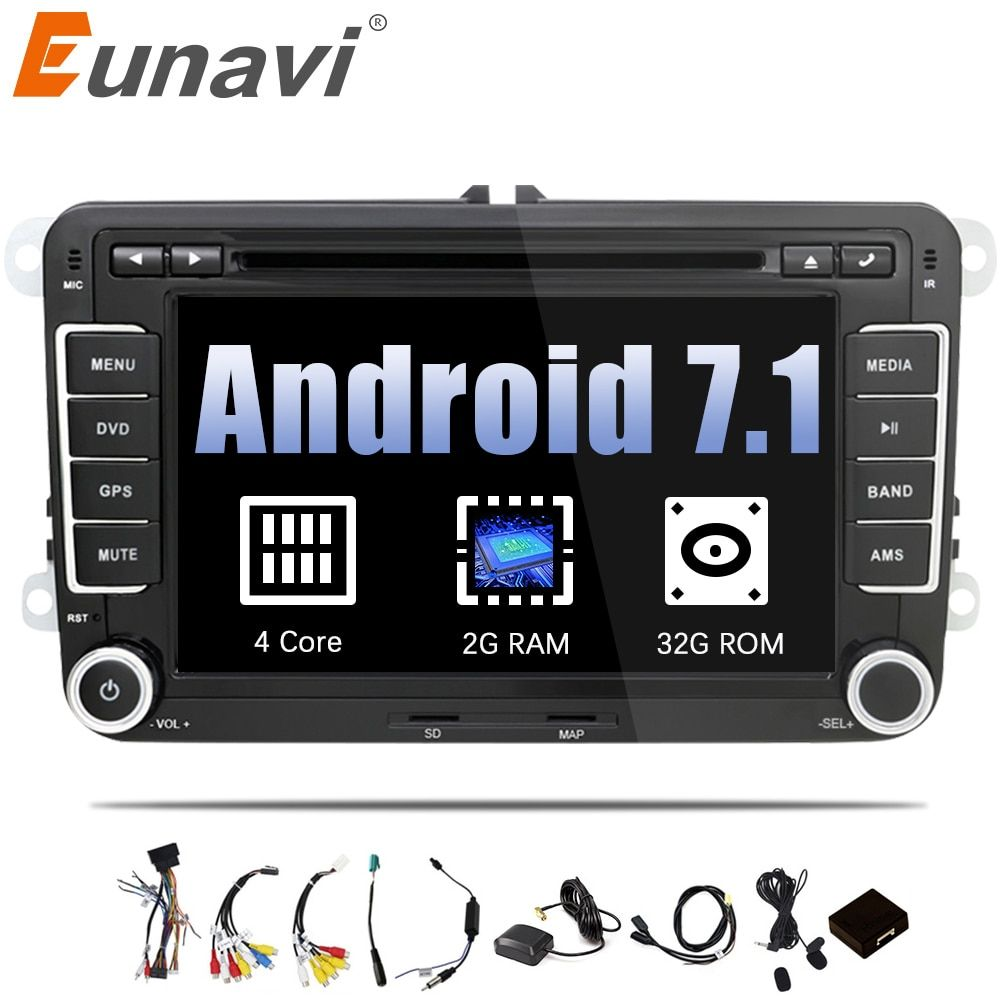 Eunavi 2 Din Android 7.1 8.1 Car Audio Car DVD Player GPS Radio For VW GOLF 6 Polo Bora JETTA B6 PASSAT Tiguan SKODA OCTAVIA OBD