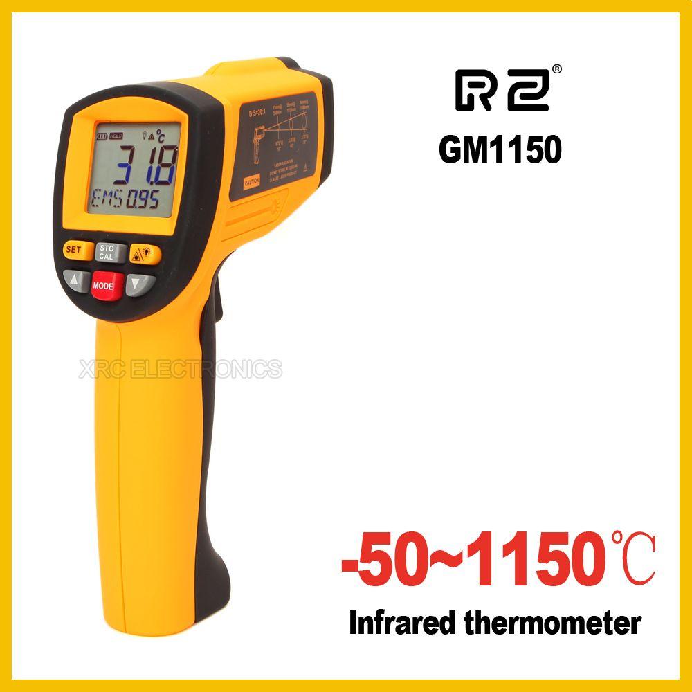 GM1150 Non-Contact 12:1 écran lcd IR Infrarouge Température Numérique Gun Thermomètre-50 ~ 1150C (-58 ~ 2102F) 0.1 ~ 1.00 réglable