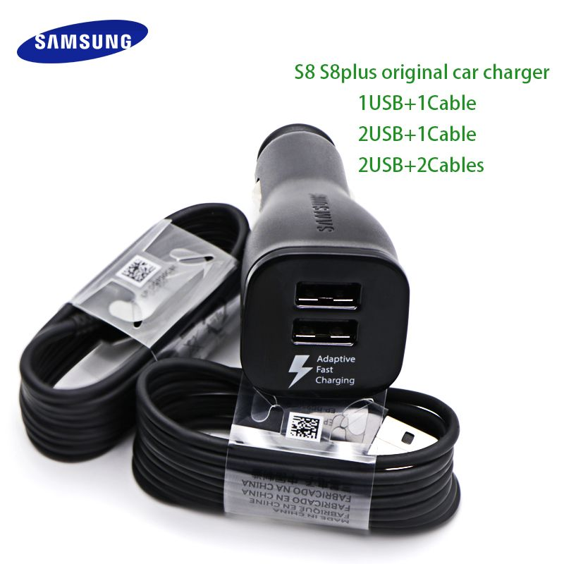 Samsung S8 S8Plus Car Charger Original Adaptive Fast Charger 9V 1.67A & 5V 2A Quick Charge 3.0 Type-C Cable 2 USB Adapter Note 8