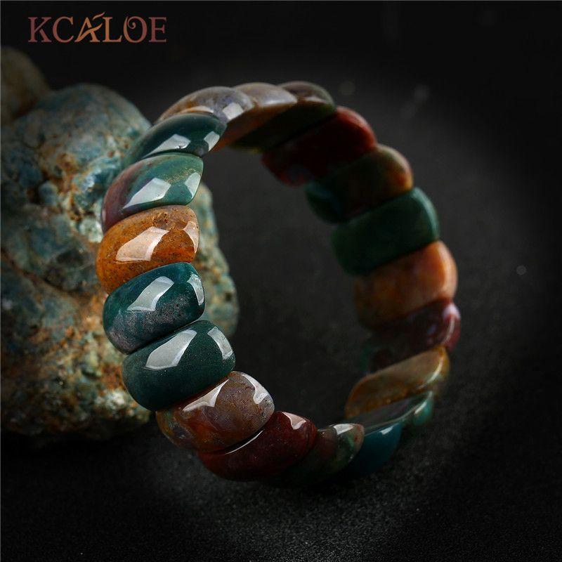 KCALOE New India Agat Onyx Natural Stone Chakra Bracelet For Women Men Beaded Stretch Bracelets Bangles Vintage Accessories