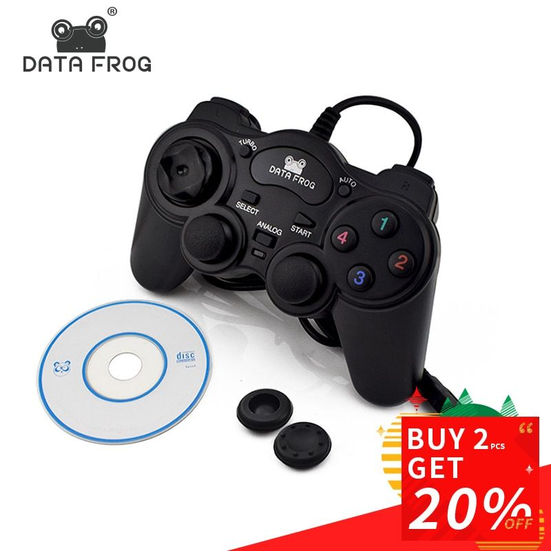 CHAUDE Filaire USB 2.0 Noir Gamepad Joystick Joypad Gamepad Contrôleur de Jeu Pour PC Portable Ordinateur Pour Win7/8/ 10 XP/Pour Vista