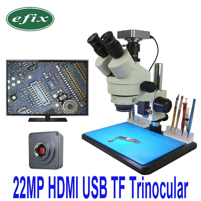 Efix 22MP HDMI USB Kamera 7-45X Simul-Brenn Trinokular Löten Stereo Continus Zoom Mikroskop für Telefon Reparatur