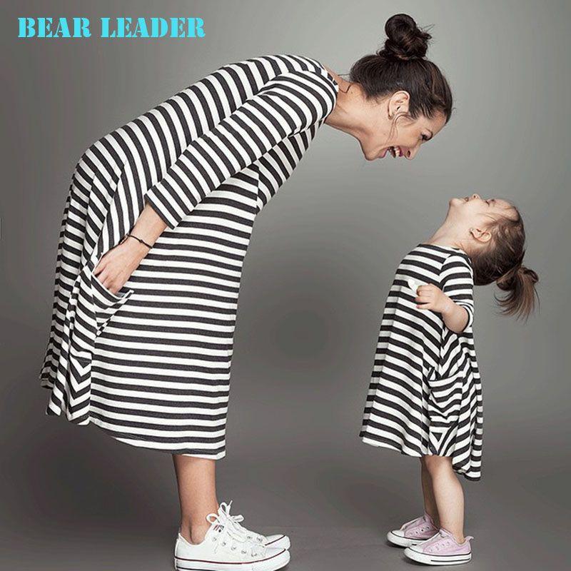 Bear Leader/2017 Новинка весны и осень Стиль Наборы для семьи для мамы и дочки осеннее черный платье в полоску бесплатная доставка