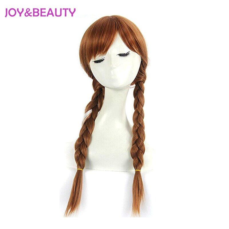 JOY&BEAUTY Synthetic Hair High Temperature Fiber Anna Cosplay Wigs Brown And White Children and Adult Wigs