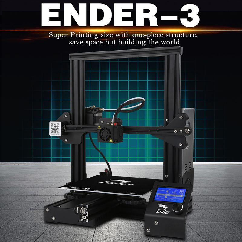 New Fashion Ender-3 3D printer DIY Kit V-slot Large Size I3 mini printer 3D Continuation Print power 110Cfor hotbed Creality 3D