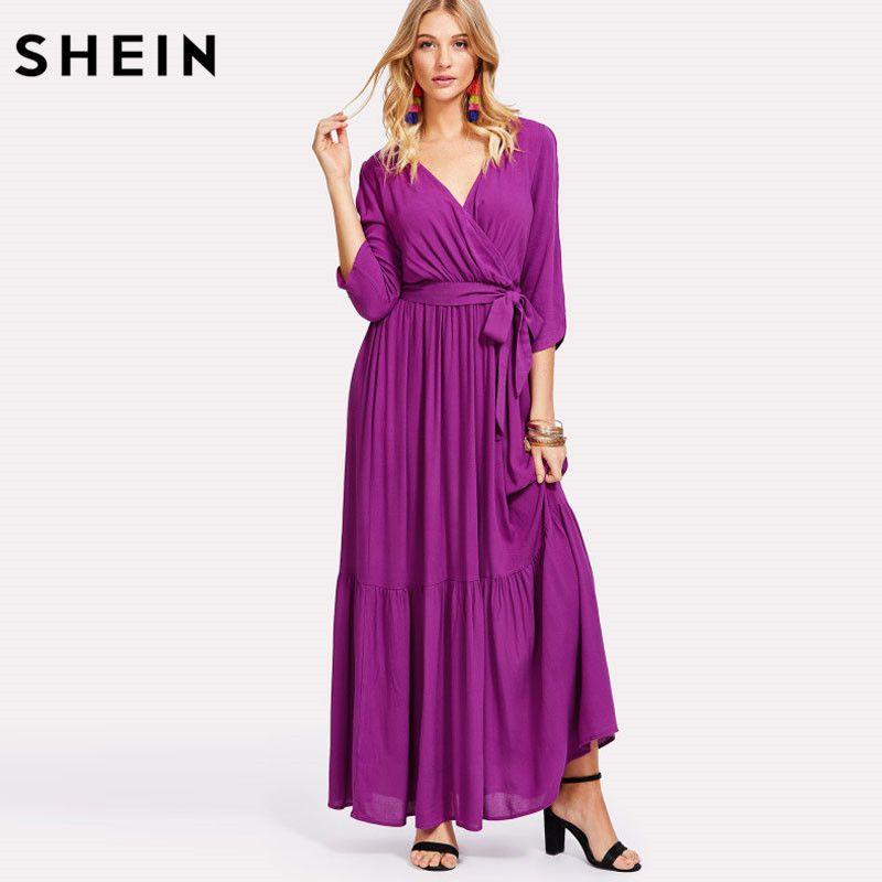 SHEIN Spring Purple V Neck Long Sleeve Loose Women Dress Elegant Self Belted Surplice Wrap A Line Ruffle Maxi Dresses