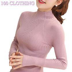 Baru 2018 Musim Semi Musim Gugur Fashion Wanita Sweater Tinggi Elastis Seksi Slim Hangat Ketat Bottoming Sweater Wanita Elegan Rajutan Pullovers