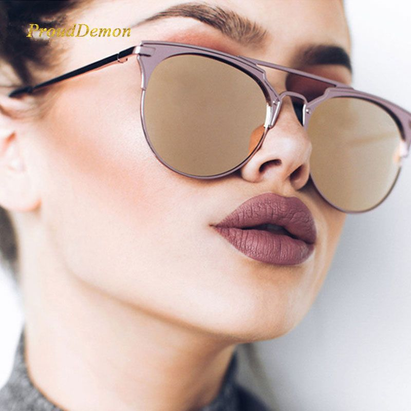 Mirror Rose Gold cat eye Sunglasses Women Round Luxury Brand Female Sun Glasses Women 2018 Fashion Oculos Star Style Shades