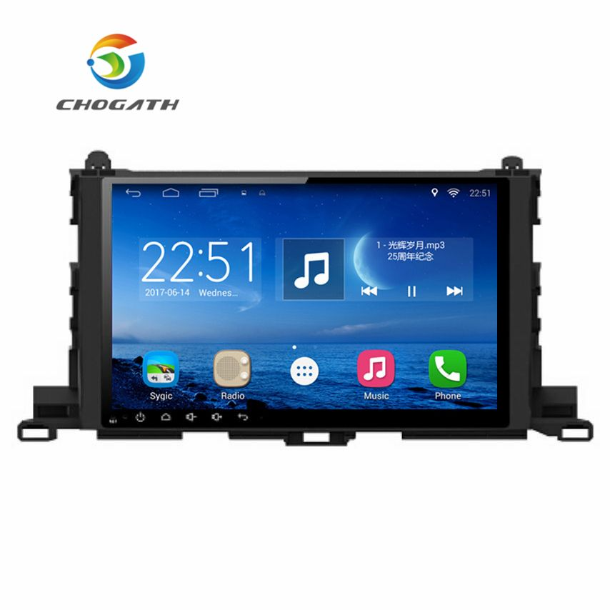 ChoGath 10.2'' 1.6GHz Quad Core RAM 1G Android 6.1 Car Navigation GPS Player for Toyota Highlander 2014-2017 with Canbus