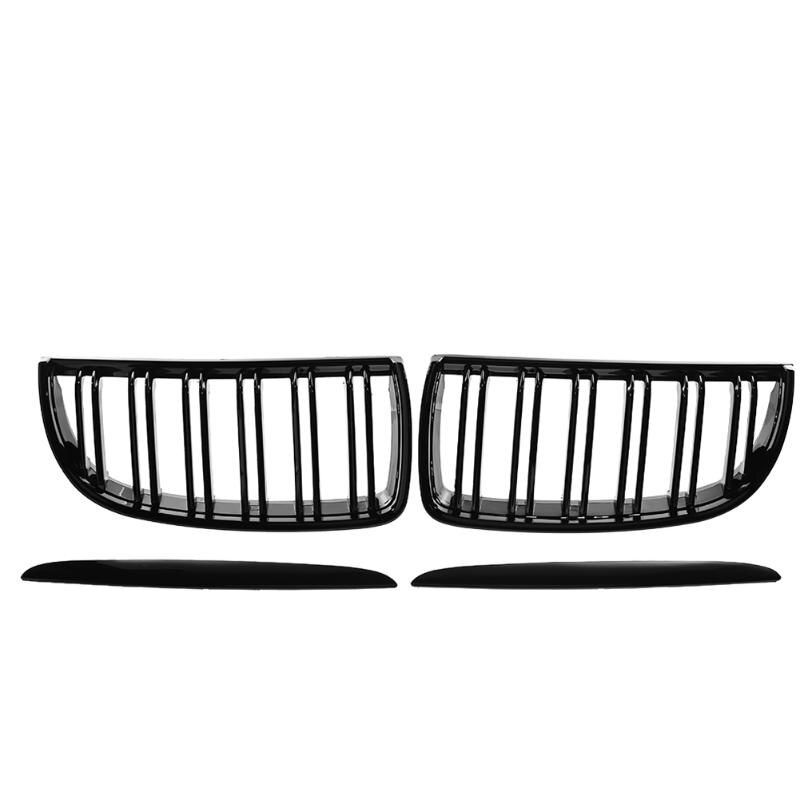 VODOOL 1 Pair Front Kidney Grille for BMW E91 Car Racing Grille Black For BMW E90 318 320i 325i 330i Car Decorative Accessory