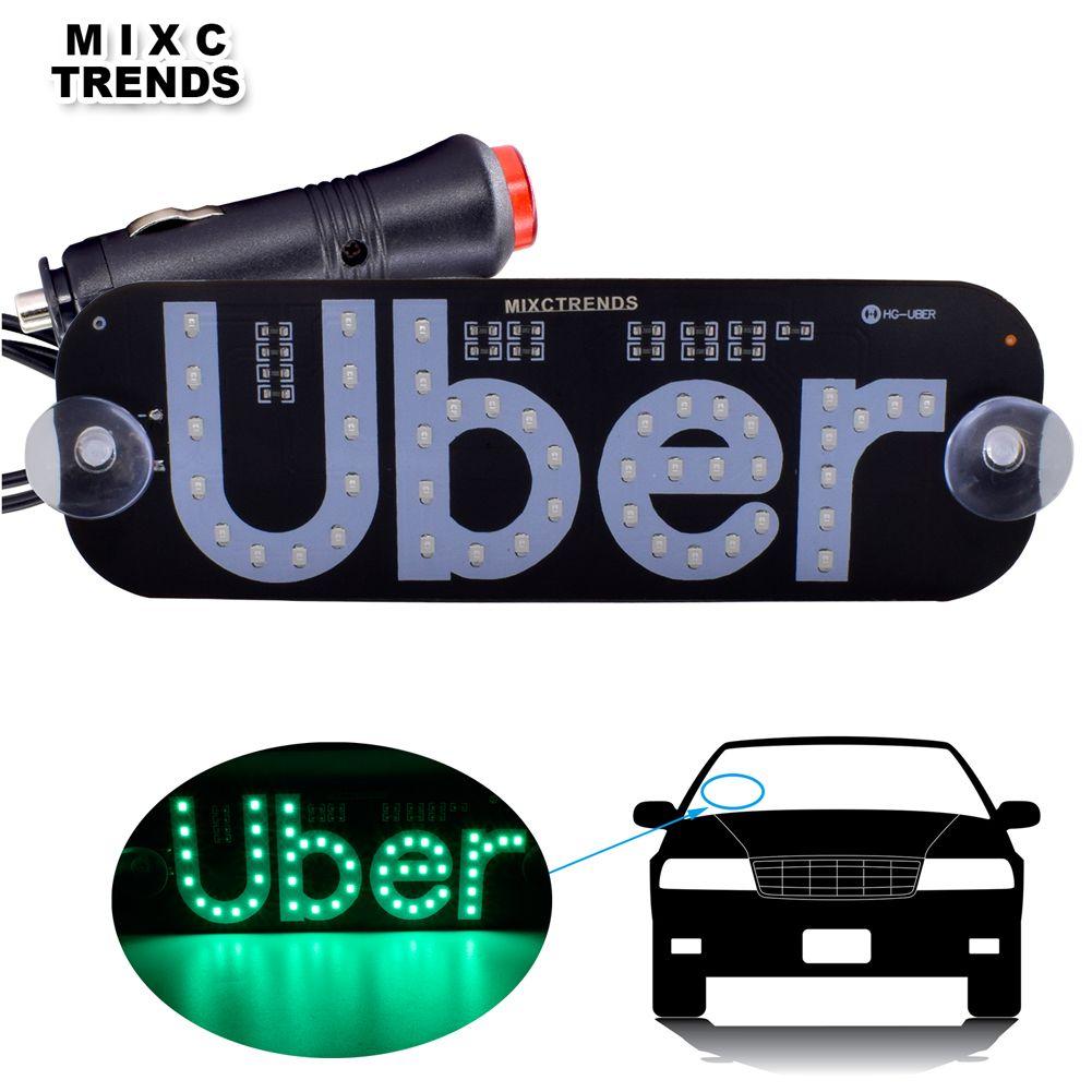 1 pièces Uber panneaux de LED 12 V voiture LED toit pare-brise Uber panneau lumière voiture fenêtre Taxi haut Signal lumière LED avec allume-cigare