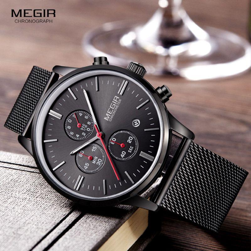 Megir Fashion Mens Business Stainless Steel Band Quartz Watches with Calendar Chronograph Luminous <font><b>Analog</b></font> Wristwatch Man 2011