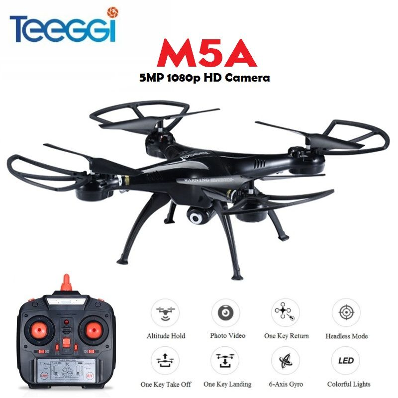 Teeggi M5A RC Drone With 5MP 1080P HD Camera 6-Axis Remote Control RC Helicopter Quadcopter Dron VS SYMA X5HW X5C Dron