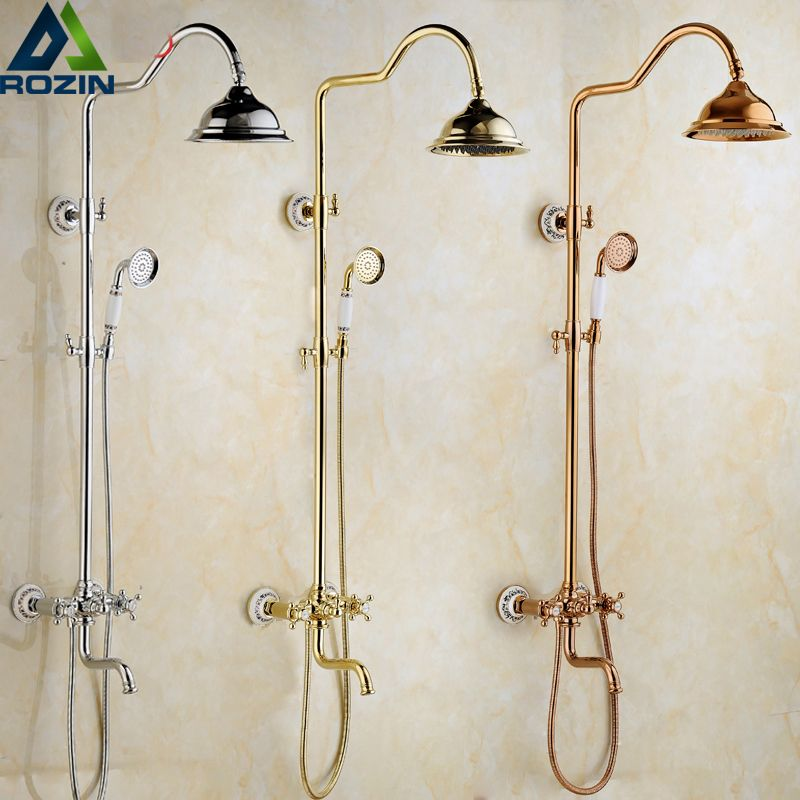 Wall Mounted Best Quality Shower Set Faucet Dual Handle Rainfall In-wall Outdoor Shower Column + Tub Filler + Hand Shower