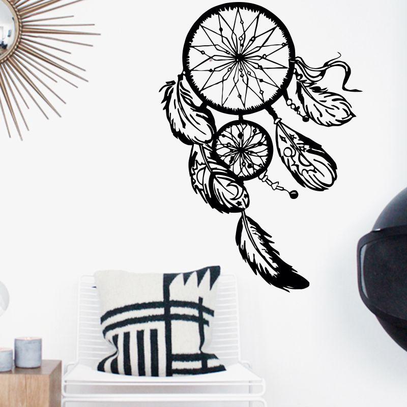 Art Design capteur de rêves vinyle mur autocollant décor à la maison plumes nuit symbole indien décalque chambre salon rêve capture