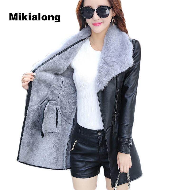 Mikialong 2017 Fur Collar Women Long Leather Jacket Coat Female Winter Long Sleeve Suede Fur Jacket Women Bow Motorcycle Jacket