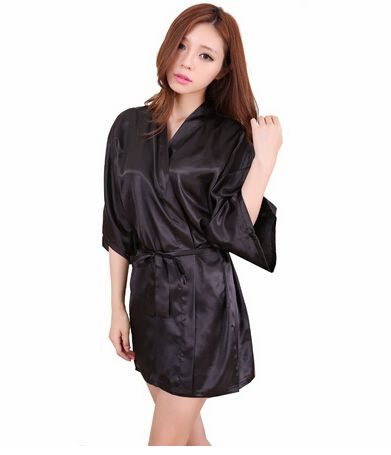 RB030 Sexy Large Size Sexy Satin Night Robe Lace Bathrobe Perfect Wedding Bride Bridesmaid Robes Dressing Gown For Women