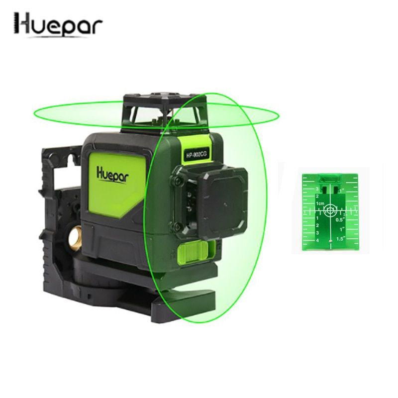 3D 8 lines laser level 360 Self-leveling 3D Laser Level 902CG Green Beam Powerful Laser Beam Huepar
