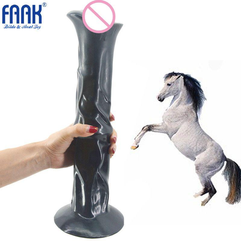 FAAK marque énorme cheval gode Super grand Long ventouse gode réaliste artificiel pénis Anal gode jouets sexuels pour les femmes 13.78 pouces
