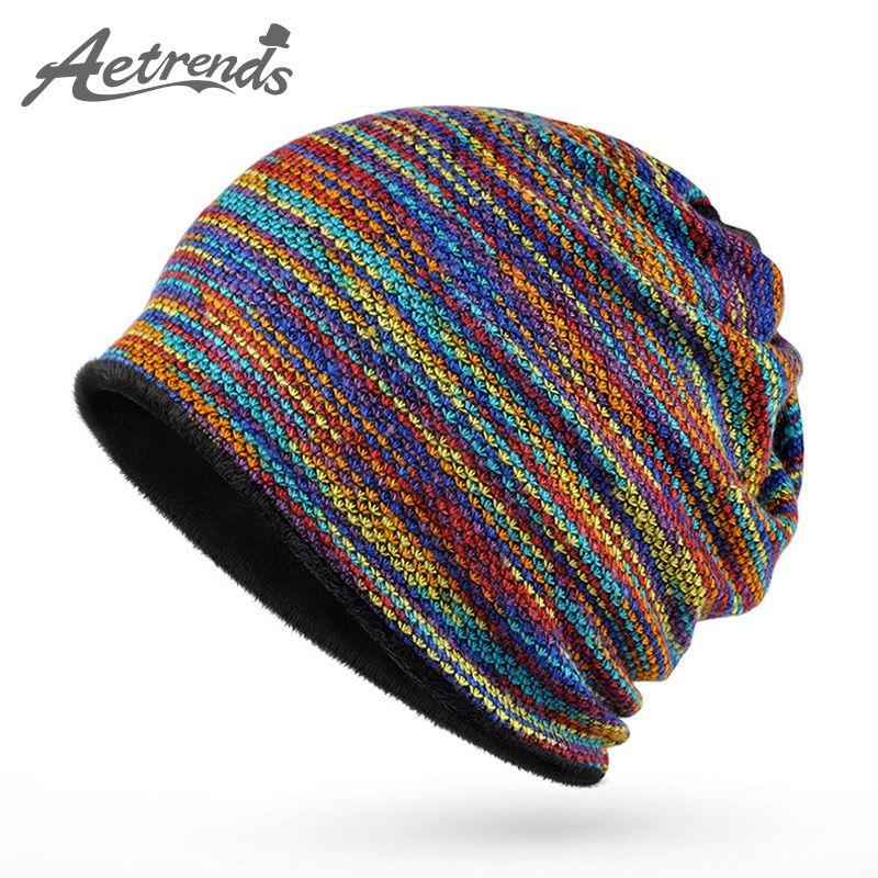 [Aetrends] 2017 invierno collar bufanda mujeres o hombres hip hop sombreros calientes con terciopelo dentro Z-5008
