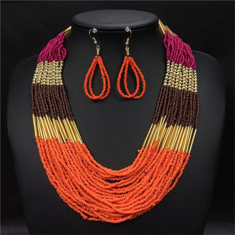 Boho bohème Ethnique bijoux ensembles Long Multi couche brin perlé boucles d'oreilles perles africaines Collier ensemble femmes Collier Ethnique