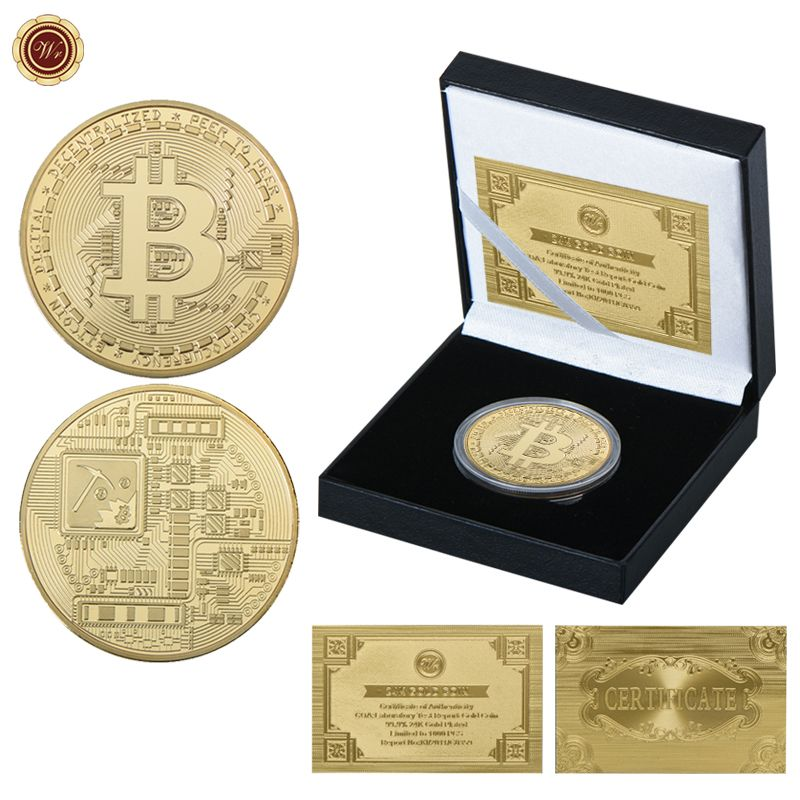 WR Bitcoin Coin Gold Plated Challenge Bit Coin with Box for New Year Gift Bitcoin Gold Coins Collectibles for Business Souvenir