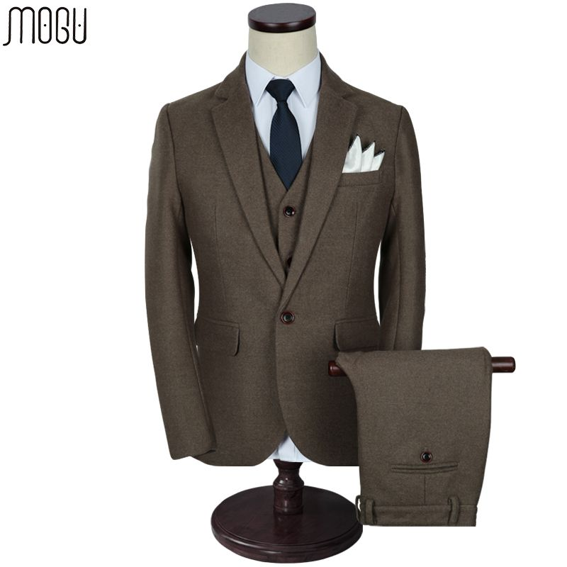 MOGU Three Piece Solid Men's Suits 2017 High Quality New Fashion Pure Color Slim Fit Wool Suits Men Asian Size 5XL Men's Costume