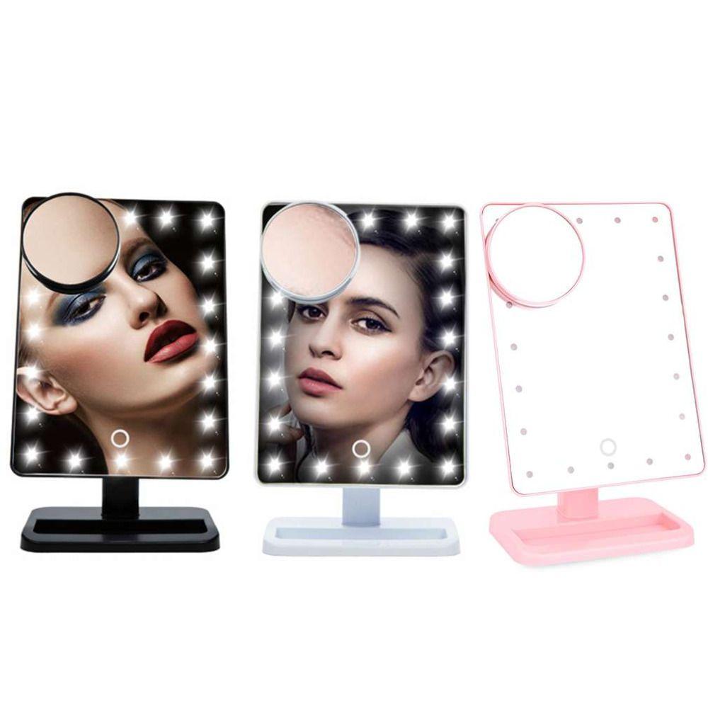 10X Лупа LED Сенсорный экран Макияж зеркало Портативный 20 светодиодов освещенные Регулируемый косметическое Настольный столешницу увеличите...