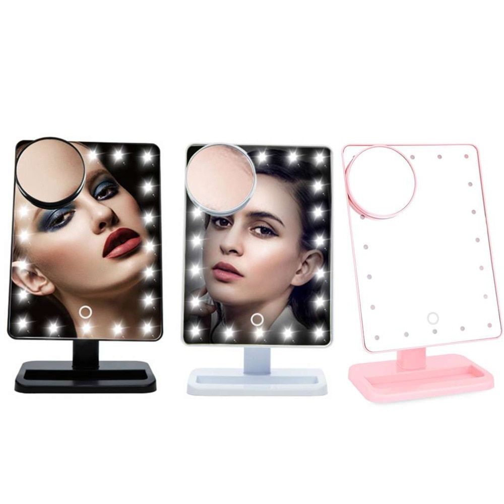 10X Magnifier LED Touch Screen Makeup Mirror Portable 20 LEDs Lighted Cosmetic Adjustable Vanity Tabletop Countertop Magnifying
