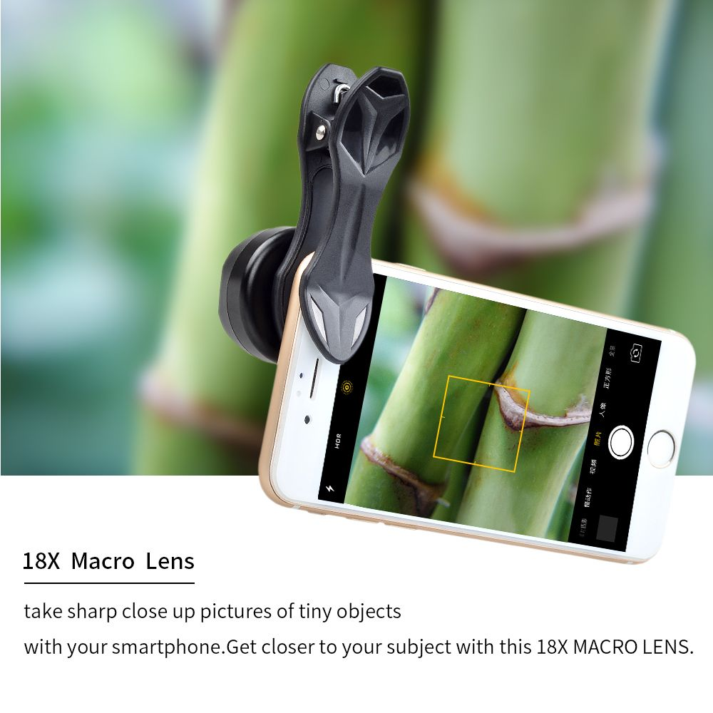 2018 new Universal Super Macro lens Clip-on Cell Phone Camera Lenses 18X Macro Lens for iPhone Xiaomi Samsung smartphone Lens