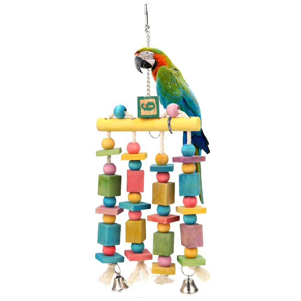 Parrot Toys Birds Macaw Pet Bird Colorful Hanging Acrylic With Bells Bites Swing Toy Chew On Cages Cockatoo Stand Rack Accessory