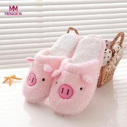 2018 nueva encantadora mujeres Flip Flop forma linda del cerdo casa piso suave zapatillas Zapatillas Zapatos femeninos niñas invierno primavera caliente zapatos